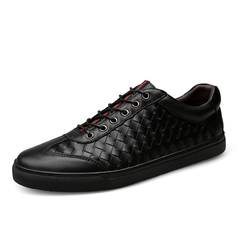 Woven Men Sneakers Leather Casual Shoes Teenager Boy Platform Lace-up Shoe Breathable Autumn Fashion Comfortable School Footwear