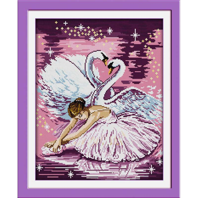 Needlework, DIY DMC Cross Stitch, Set Embroidery Kit, Precise Print Dance ballet girl Pattern Sufficient Line Cross Stitch αυτοκολλητα τοιχου καθρεπτησ