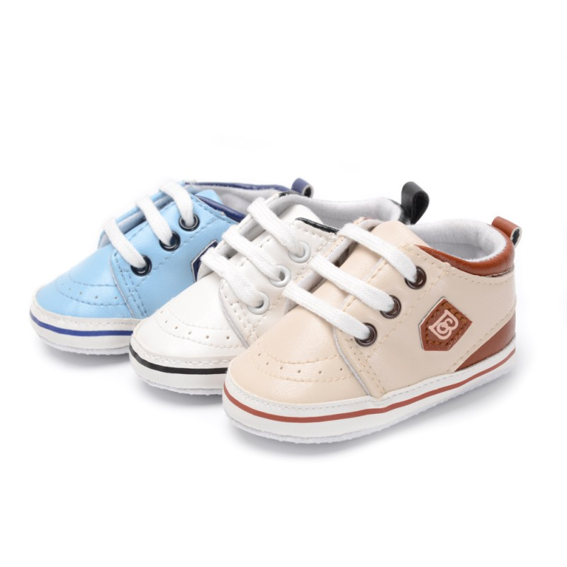 Spring Baby Boys Lace-Up Shoes Autumn Indoor Shoes Soft Sole Bottom Shoes Crib Shoes First Walkers