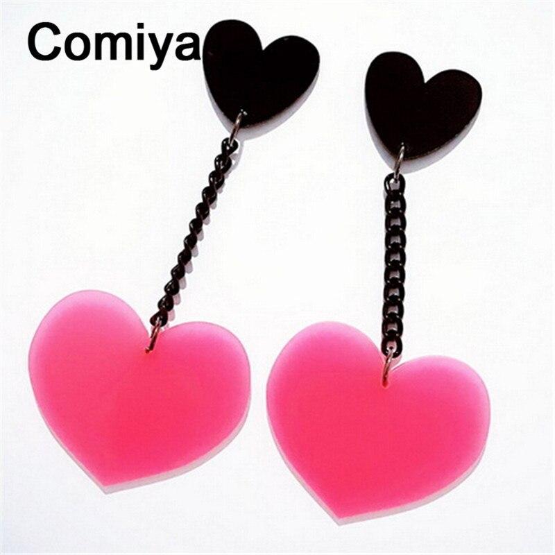 d8f4a53a2ea3 ᗕNegro Rosa corazones pendientes largos brincos Femme moda joyería ...