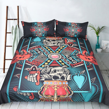 3pcs Cool Fashion Poker Sugar Skull King Bedding Set 3D Print Punk Gothic Duvet Cover Bedclothes Home Textiles E