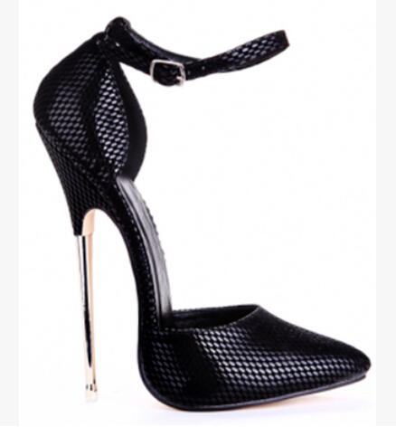 2015 spring amazing pointy toe snakeskin ankle strap buckle pumps metal stiletto heel nightclub shoes white black pink aqua
