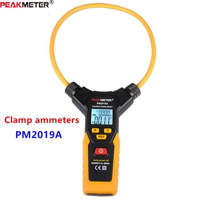 Multímetro LCD Digital Flexible pinza medidor AC pinzas de corriente herramienta de diagnóstico PEAKMETER amperométrico PM2019A