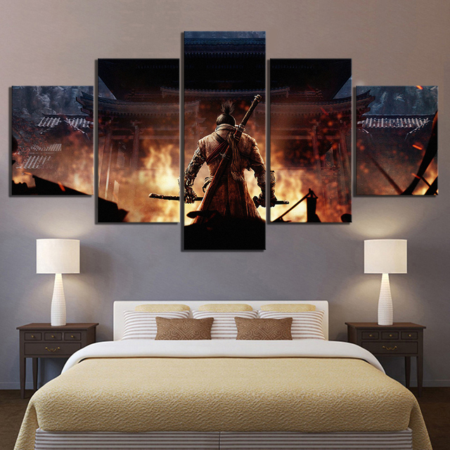 5 Piece SEKIRO Shadows Die Twice Game Poster Artwork Canvas Paintings Ninja Pictures Wall Paintings for Home Decor
