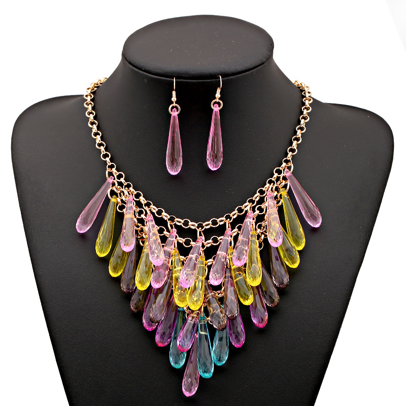 LZHLQ Geometric Multilayer Water Drop Tassel Necklace Colorful Plastic Necklace Fashion Brand Women Maxi Jewelry Accessories