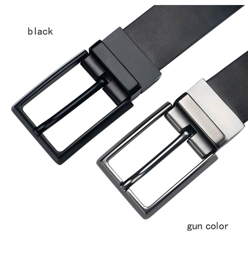 DOULILU Double-sided available Two-layer leather pin buckle belt Men's double-sided leather casual fashion belt rotation buckle  For Men Jeans Casual Belt Pin Buckle Masculine Cummerbund1 (3)