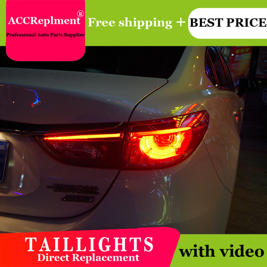 4PCS Car Styling for Mazda 6 Taillights 2014 2015 for Mazda 6 LED Tail Lamp+Turn Signal+Brake+Reverse LED light