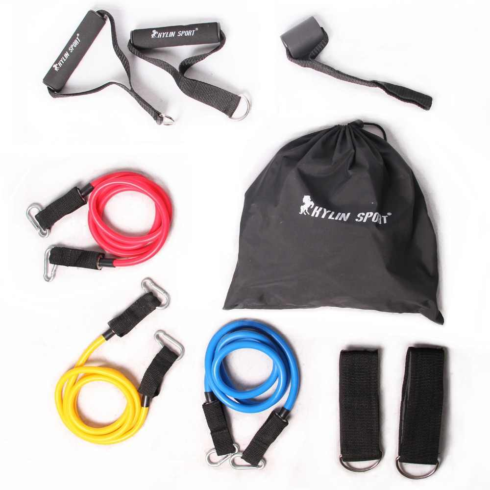 9 Pcs / set Pull Rope And Accessories Yoga Resistance Exercise Gym Fitness Latex Tubes Elastic Training Free Shipping
