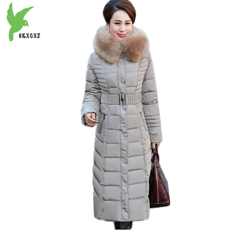 Middle old Women Down cotton Jacket Coat Lengthened Parkas Hooded Fox fur collar Jacket Plus size Thick Warm cotton Coats OKXGNZ 100cm creative slim diy mesh bag for cosmetic makeup brush 12290