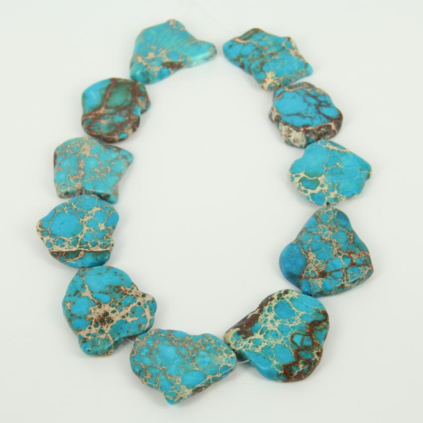 Wholesale Blue Color Sea Sediment Stone Slab Beads