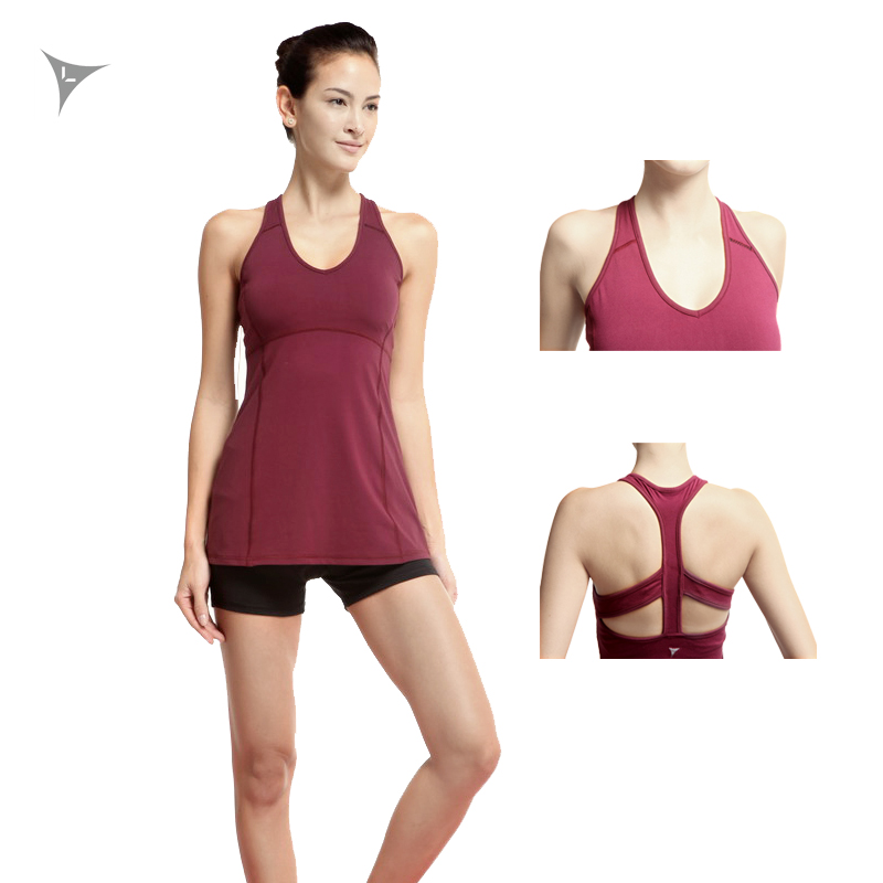 Linebreak Sport Long Vest Women Runing Tank Tops With Removable Fitness Underwear Breatherable Sleeveless Cool Pads Yoga Vests