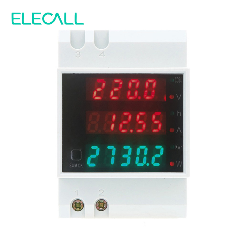 ELECALL D52-2047 DIN Rail Digital Multifuction Power Meter AC80-300V Voltmeter AC 0-100A Ammeter Energy Meter ls601 silver multifuction outlet power