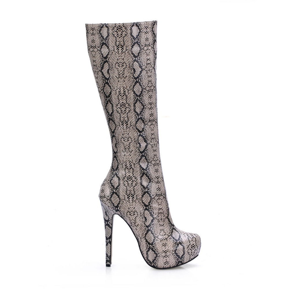Sexy Women Fashion Python Pattern Printed High Heels Boots Snake Skin Platform Stiletto High Heel Zip Knee High Long Boot Shoes yuanyu 2018 new hot free shipping real python skin snake skin color women handbag elegant color serpentine fashion leather bag