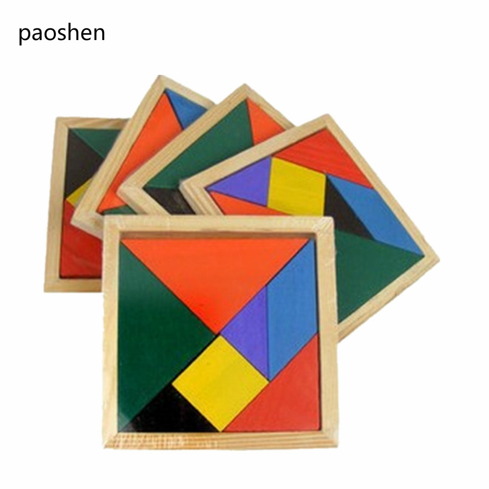 Classic Creative Wooden Tangram 7 Piece Jigsaw Puzzle Colorful Square IQ Game Brain Teaser Intelligent Educational Toys for Kids