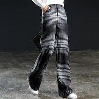 Толстые прямые Брюки для девочек Для женщин 50% шерсть градиент Цвет плед карманы длинные штаны простой Дизайн Винтаж Стиль 2018 Новая мода