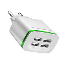 цена на 2019 Top 4 port USB charger adapter 4A travel charge LED lamp plug multi port HUB charger For iPhone iPad Samsung Xiaomi redmi