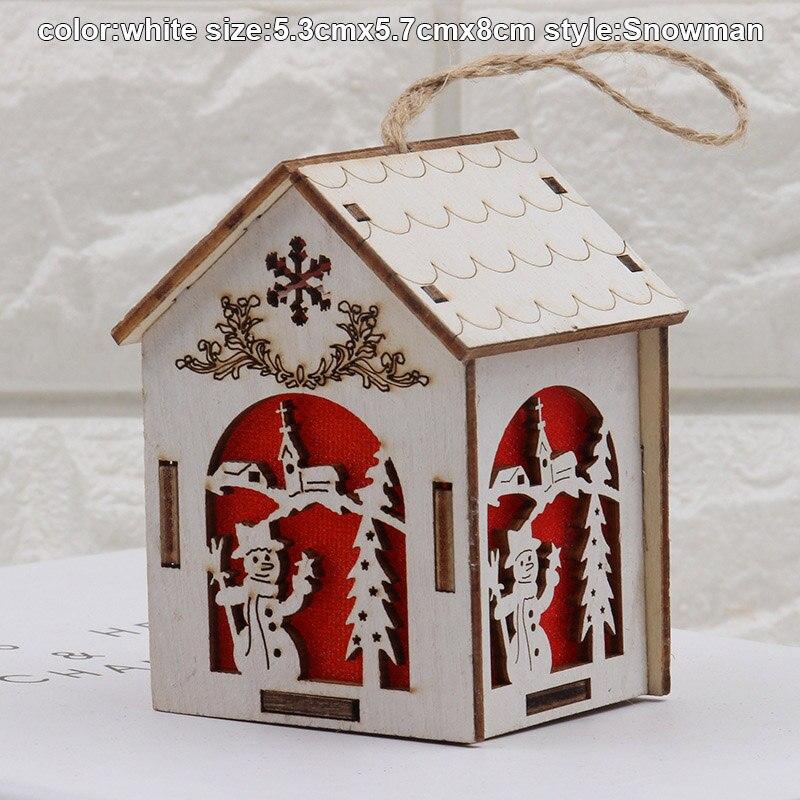 Christmas Wooden Night Light Snowman Elk Bell Night Lights Xmas Lantern Decor