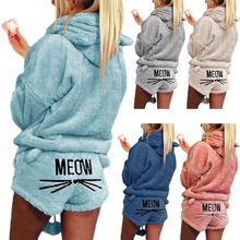 여자 여자 플러스 사이즈 겨울 두꺼운 잠옷 세트 귀여운 고양이 야옹 수 놓은 짧은 바지 긴 소매 후드 귀 스웨터 따뜻한 s