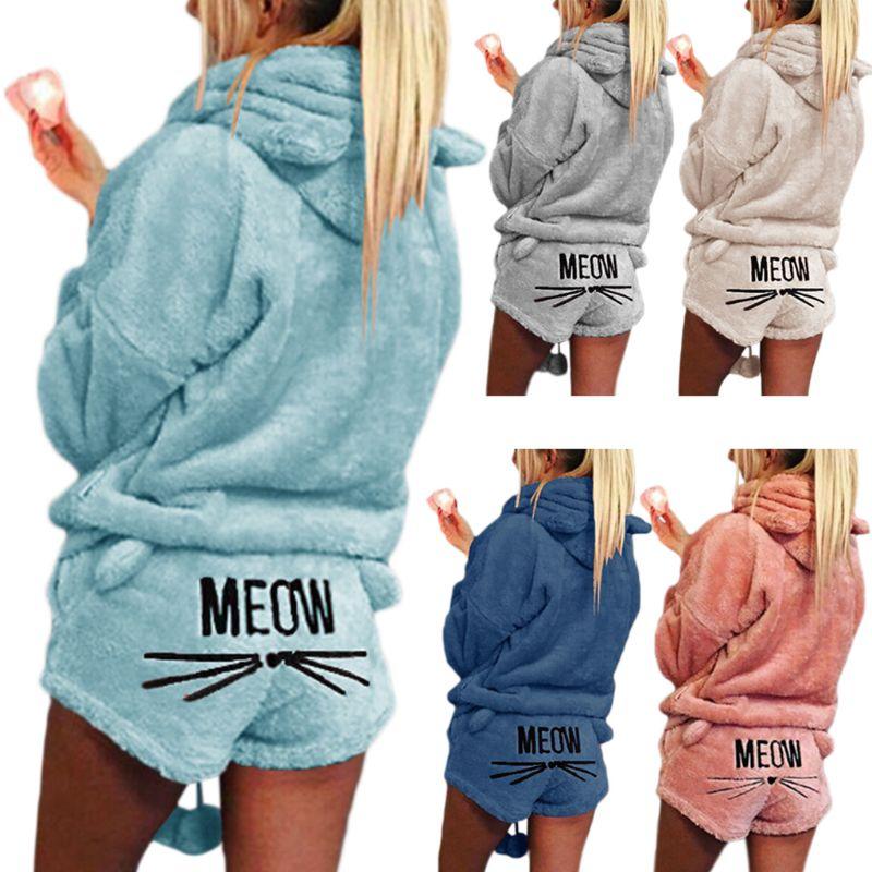 Women Girls Plus Size Winter Thicken Pajamas Set Cute Cat Meow Embroidered Short Pants Long Sleeve Hooded Ears Sweatshirt Warm S