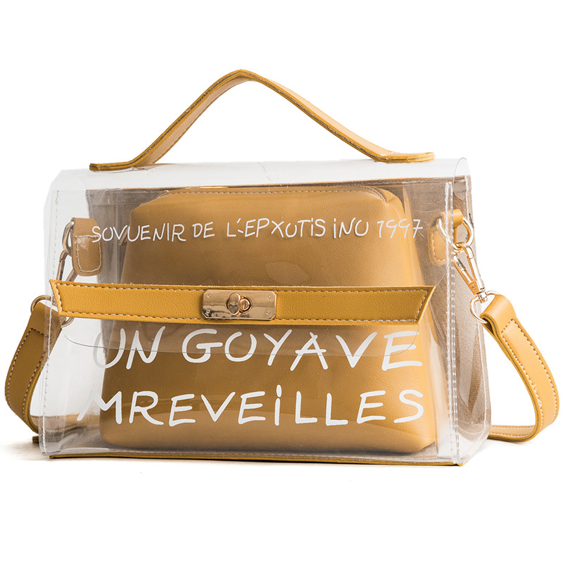 Women's Transparent Trendy Composite Bag PVC Clear Shopping Bag Tote