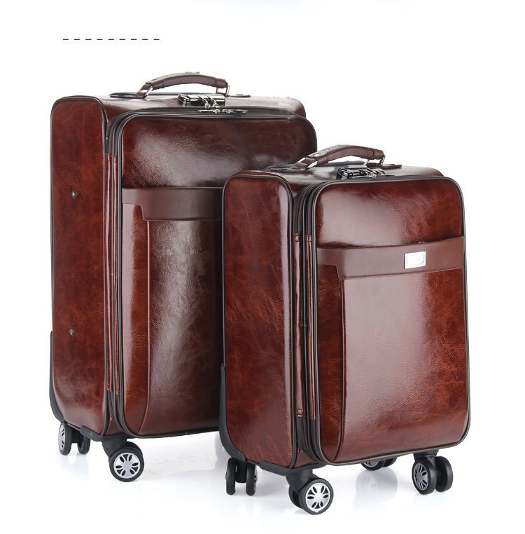 20'' 24'' PU leather Commercial luggage,Business luggage,Brown ...
