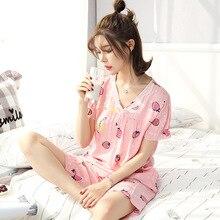 Summer 2019 pajamas women comfortable V-neck short-sleeved shorts 2 piece set lace print sweet loose wear pajama plus size