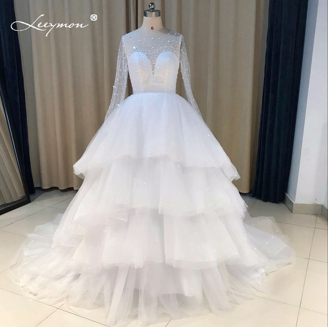 Leeymon Custom Made Real Samples Ball Gown Puffy Wedding Dress 2018 Sheer Back Long Sleeves Crystal