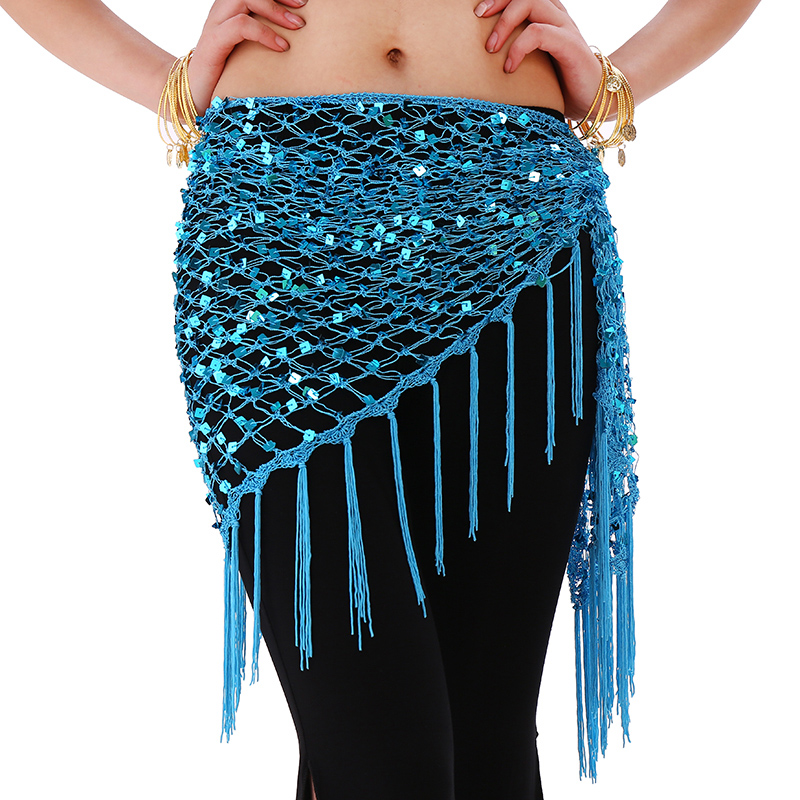 12 Colors Belly Dance Practice Clothes Accessories Stretchy Long Tassel Triangle Belt Hand Crochet Belly Dance Hip Scarf Sequin
