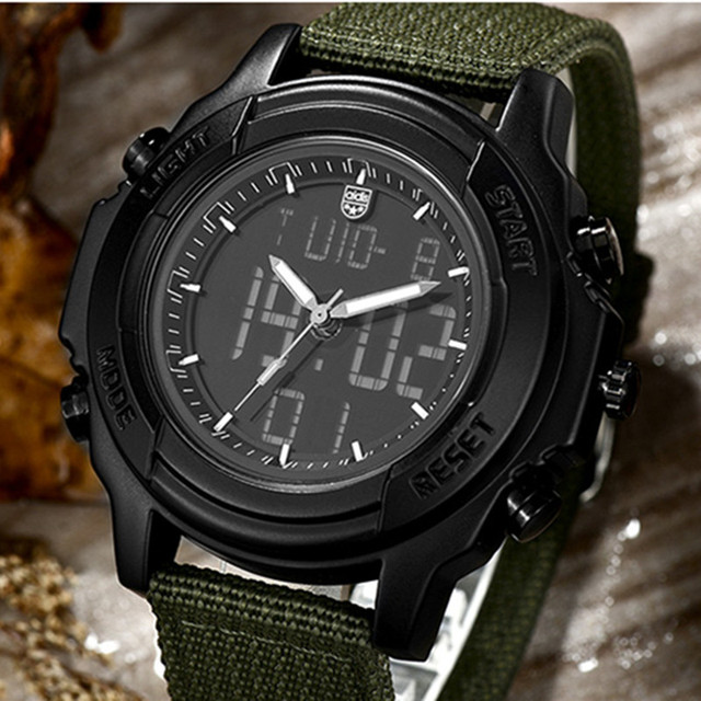 Men Sports Military Watches Outdoor Waterproof Digital LED Quartz Wristwatches Nylon Male Watch for Man Gifts Reloj Hombre
