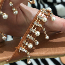 Women sandals summer shoes flat pearl sandals comfortable string bead slippers women casual sandals size 34 – 43