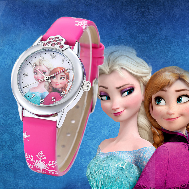 2019 New Cartoon Children Watches Princess Girls Kids Watch Spiderman Boys Students Quartz Clock Fashion Leather Wristwatch