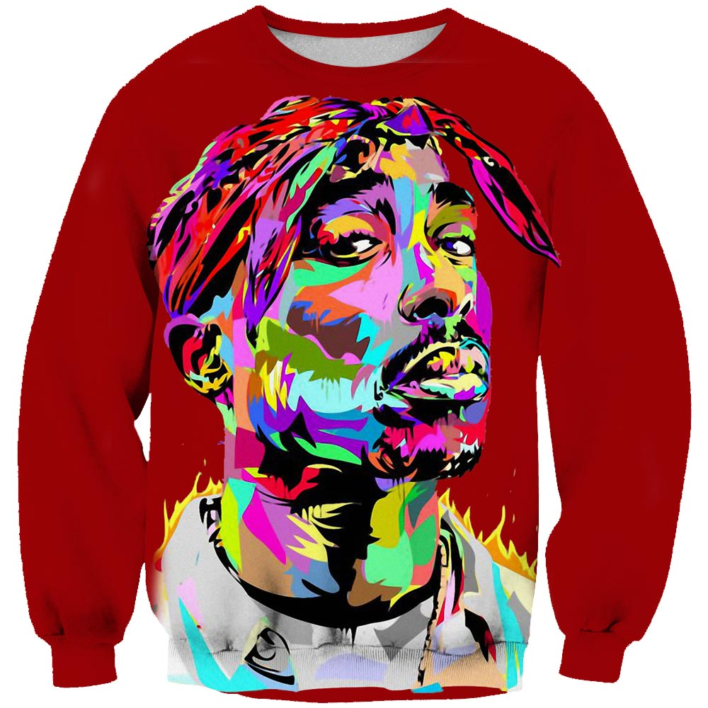 2019 New Pullover Hip Hop Rock Singer Men Sweatshirt Hoodies 3d Print 2pac Tupac Shakur Long Sleeve Clothing Plus