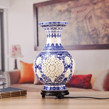 Free Shipping Antique Chinese Flower Vase Desk Lamp Blue and White Ceramic Table Lamp