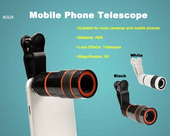Hot sale ollo clip 8 times zoom cell phone telescope lens 8x new