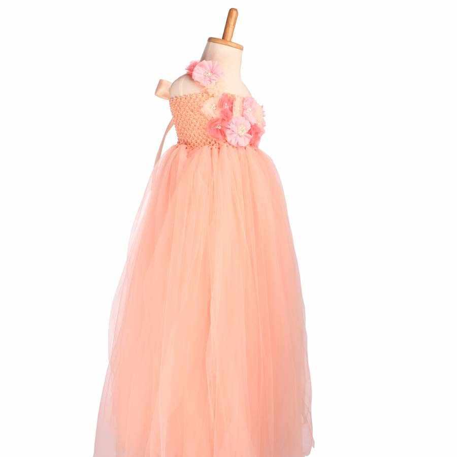 b6dc93e4bad ... Flower Girl Tutu Dress Peach Coral Flower Tulle Dress Floor-Length Kids Tutu  Dress For
