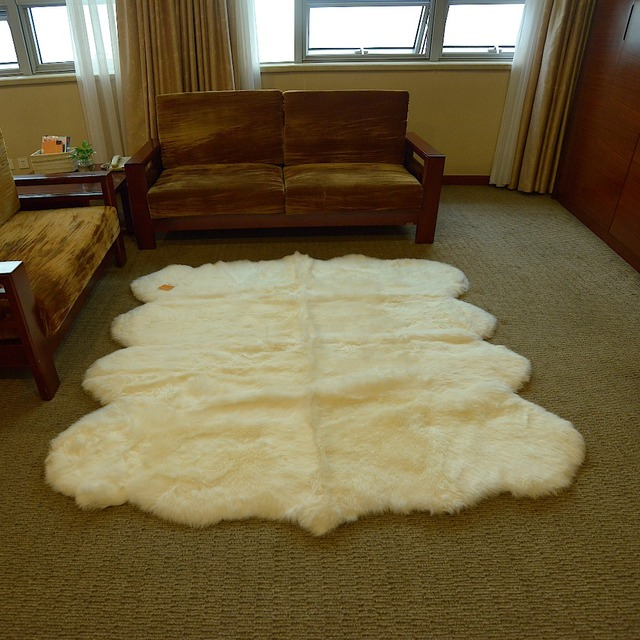 1piece Free Shipping Genuine Octo 8 100 Natural White New Zealand Sheepskin Rug