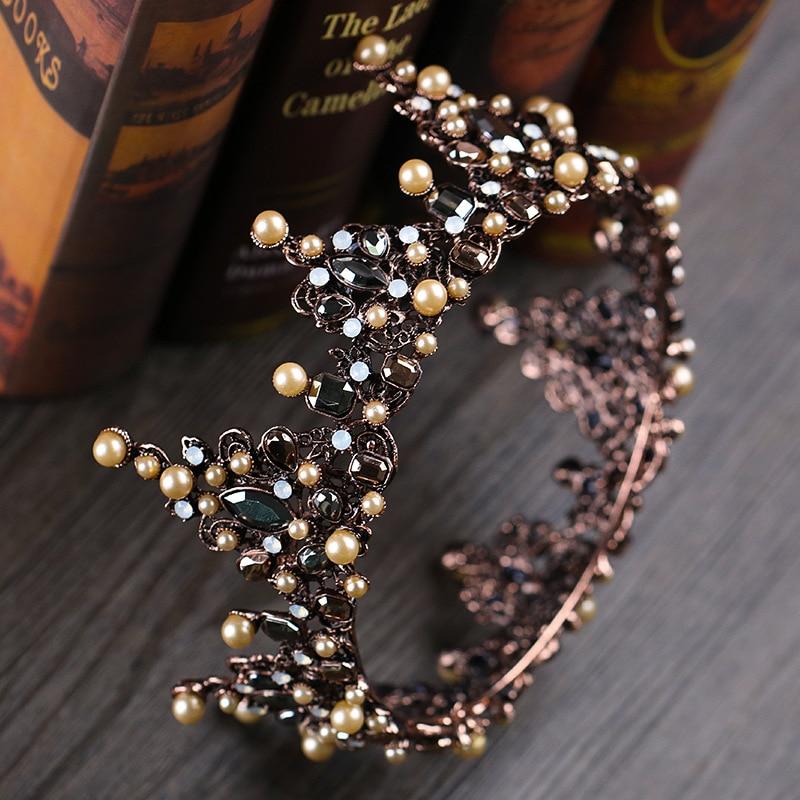 New Vintage Baroque Rhinestone Crystal Full Round Bridal Big Crown Wedding  Hair Accessories Luxury Pearls Queen Crowns Tiaras 85a8ccb4f86b
