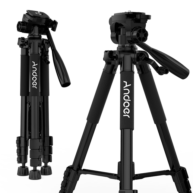 Andoer TTT-663N 57.5inch Camera Tripod for Phone Tripode Para Camara for DSLR SLR Camcorder with Carry Bag Phone Clamp
