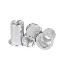 цена на 10-50pcs Aluminium Rivet Nut M3 M4 M5 M6 M8 M10 Aluminium Alloy Rivnut Flat Head Threaded Rivet Insert Nutsert Cap Rivet Nut
