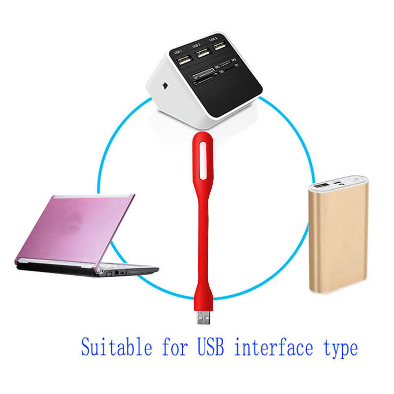 5 màu Cắm và Chơi USB Ánh Sáng Mini LED Đèn Uốn Cong Ban Đêm Xách Tay LED Đèn Bàn Nhỏ cho Máy Tính Xách Tay PC máy tính