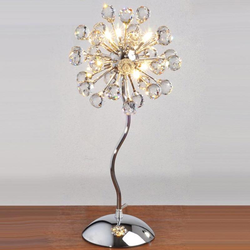 Modern Crystal Dandelion Bedroom Bedsides Table Lights Chrome Base Luxury exquisite Crystal Flowers Desk lighting Fixtures