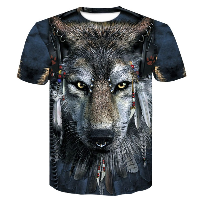 e5c39b087b48 2019 Newest Wolf 3D Print Animal Cool Funny T-Shirt Men Short Sleeve Summer  Tops