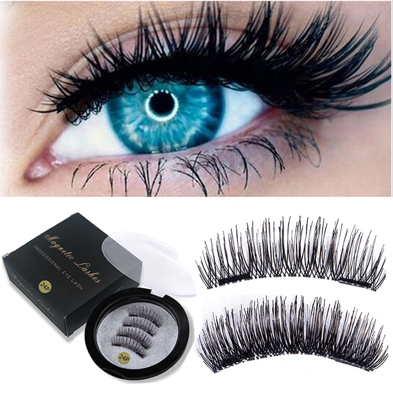 3D Magnetic Eyelashes False Eyelashes On The Magnet Double Magnet Full Strip Magnetic Lashes Soft Hair Reusable Fake Eye Lashes