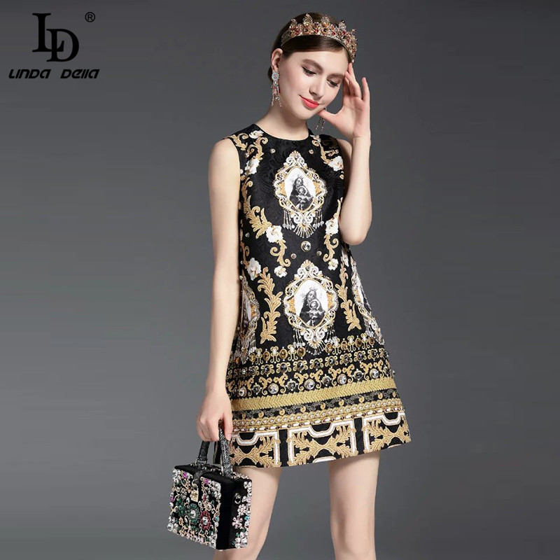 High Quality New Fashion Runway Summer Dress Women's Sleeveless Luxury Beading Jacquard Printed Vintage Straight Dress