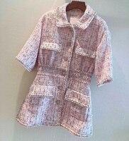 Mini Dress for Women Spring Summer Tweed Ladies dress 2019 New Short Sleeve Pink Women Dress