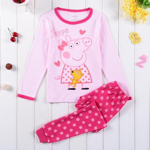 100% хлопок свинья дети пижамы установить мальчики пижамы девушки одежда с длинным рукавом пижамы 2 шт. набор ребенка пижамы pijama 2-7Y
