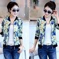 2017 Новые печати тонкий куртка женщин весна осень шею небольшой куртки леди печатные молния куртка женщин Корейской X7001