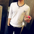 T4317 95% Хлопок футболки Moto Slim Fit V Шеи М-5XL Длинный рукав Мужские Футболки Мода 2016 Hombre Camisetas Футболка Homme