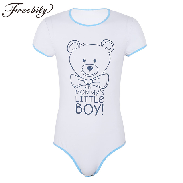 81f5b5dfa2 Sissy Clothes for Men Adult Baby   Diaper Lover Bodysuit Short Sleeves Snap  Crotch Front Printed