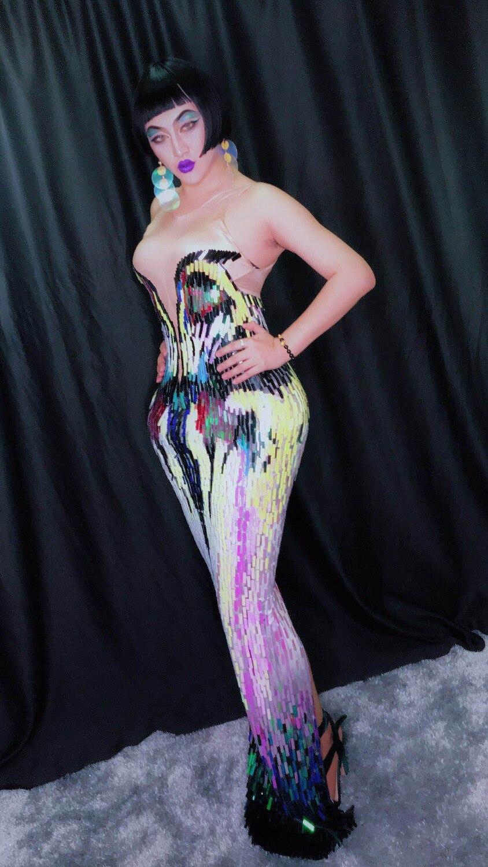 Disfraz de mujer multicolores lentejuelas una pieza vestidos sexy cantante bailarina discoteca fiesta disfraces graduación escenario - 3